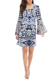 Long Bell Sleeve Woven Dress