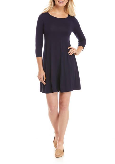 IVY ROAD Womens 3/4 Sleeve A-Line T-Shirt Dress