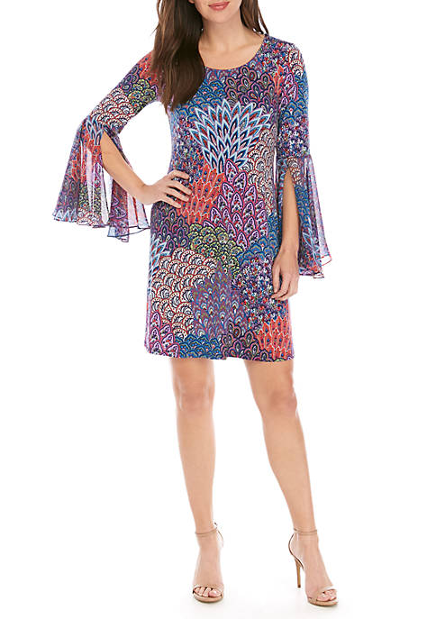 IVY ROAD Knit to Woven Peacock Print Dress