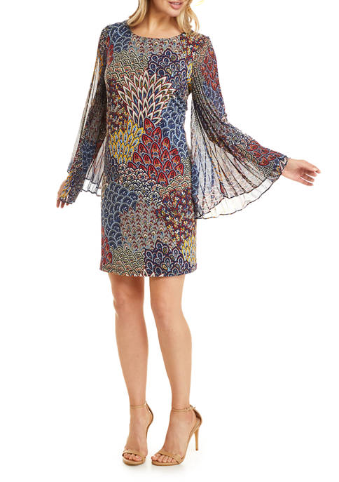 Womens Floral Pleated Flare Sleeve A Line Dress