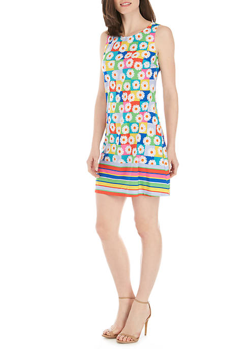 IVY ROAD Sleeveless A-Line Grid Daisy Print Dress