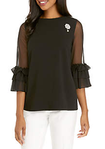 Mesh Sleeve Crepe Top with Broach