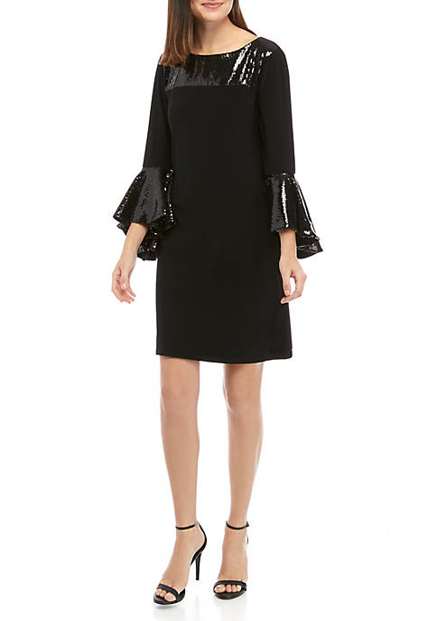 Womens Bell Sleeve with Sequin Trim Dress