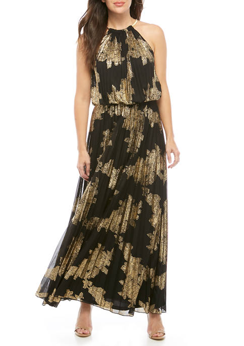 MSK Womens Maxi Gold Pleated Halter Dress