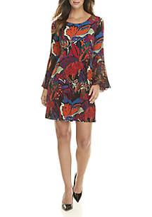 Split Bell Sleeve Print Dress