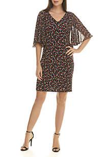 Flutter Elbow Sleeve Dot Dress