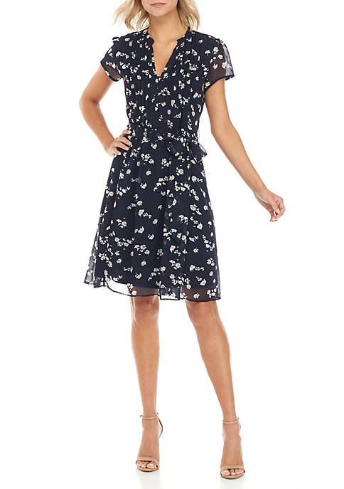 MSK Ditsy Floral Pintuck Dress