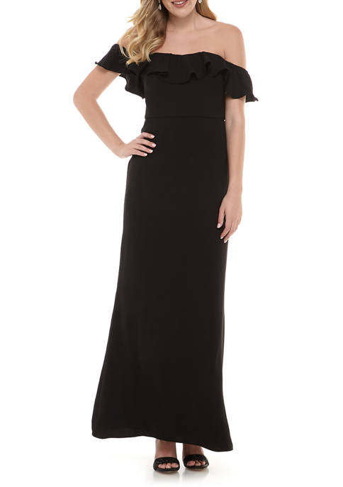 MSK Womens Ruffle Off the Shoulder Crepe Gown