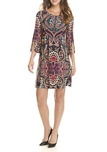 Split Bell Sleeve Paisley Print Dress