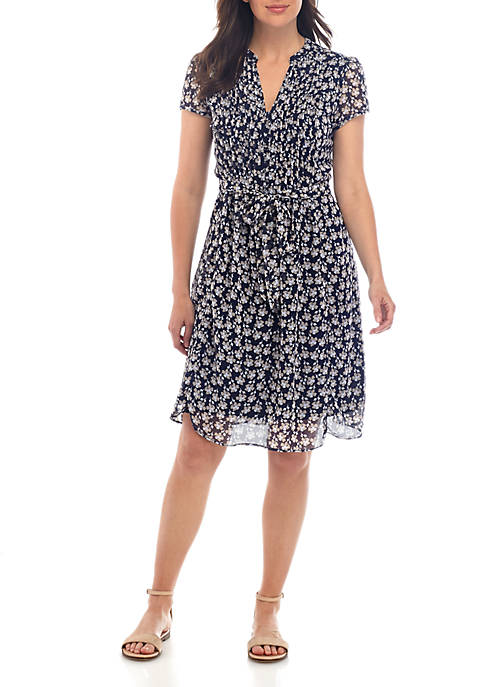 Short Sleeve Multi Floral Fit and Flare Dress