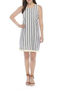 Sleeveless Dobby Stripe Dress With Fringe