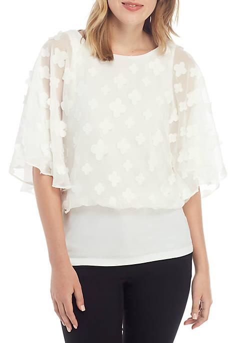 MSK 3D Flower Detail Top
