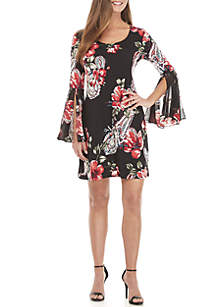 Bell Sleeve Puff Floral Print Dress