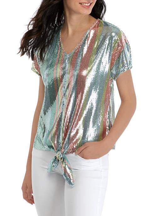 MSK Womens Dolman Sleeve Tie Front Sequin Top