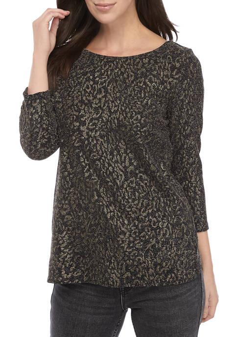 MSK Womens 3/4 Sleeve LUREX® Knit Top