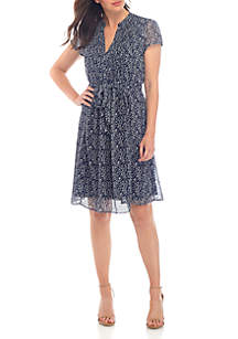 MSK Short Sleeve Floral Fit and Flare Dress