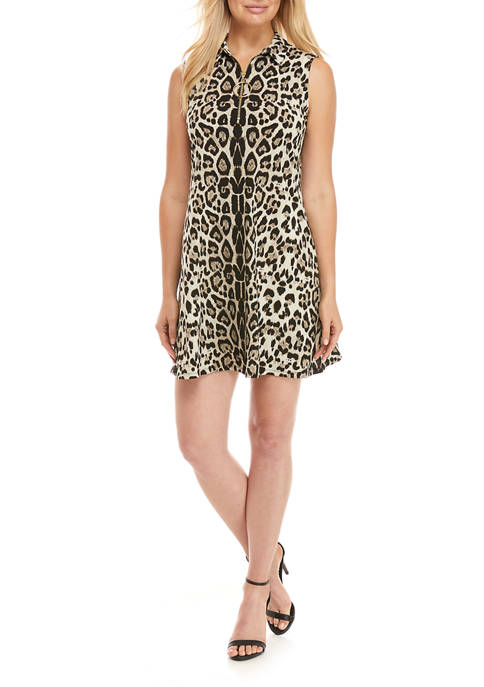 Womens Sleeveless Animal Print A-Line Dress