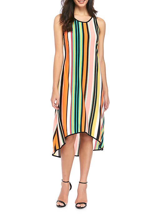IVY ROAD Womens Sleeveless High Low Stripe Dress