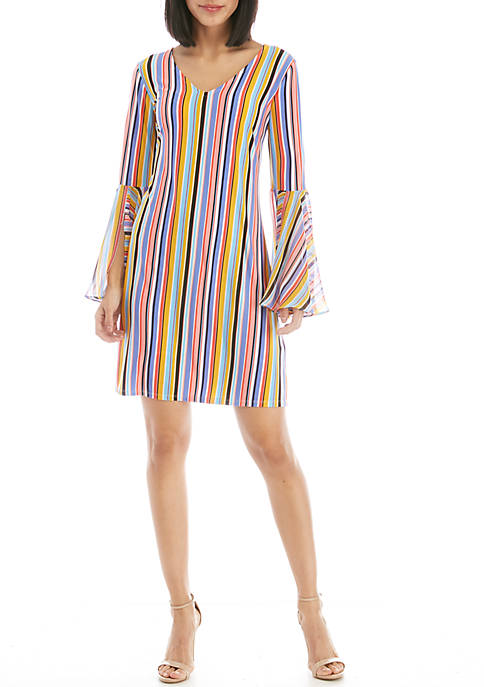 IVY ROAD Knit To Woven V-Neck Dress