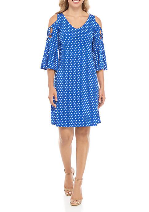 IVY ROAD Dot Soutache Cold Shoulder Dress