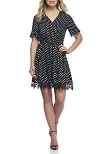 Short Sleeve Polka Dot Challis Dress
