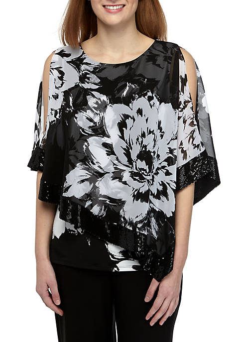 MSK Floral Sequin Chiffon Popover Top