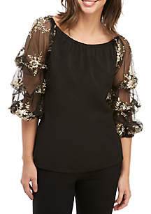 MSK Off The Shoulder Lace Embroidered Top