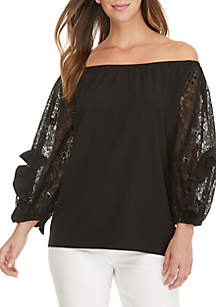 Off the Shoulder Lace Sleeve Blouse