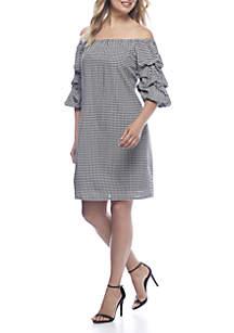 Gingham Off-the-Shoulder Dress
