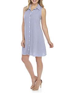 Sleeveless Boyfriend Mini Stripe Dress