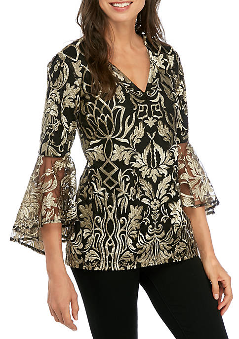 MSK Womens Bell Sleeve Embroidered Mesh Top