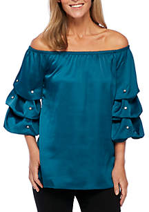 Off-The-Shoulder Ruched Pearl Blouse