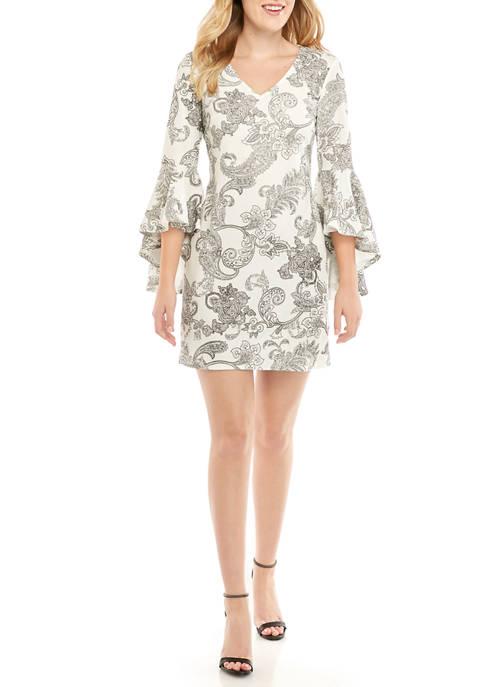 MSK Womens Bell Sleeve Printed Bullet Knit Dress