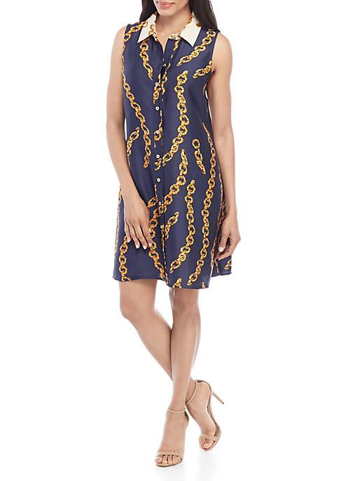Sleeveless Status Print Dress
