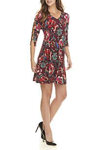 3/4 Ladder Sleeve Floral Print Dress