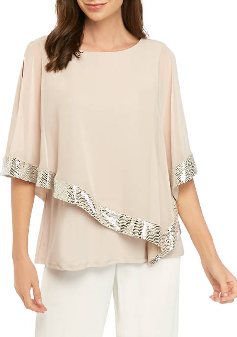 Womens 3/4 Sleeve Sequin Cape Sleeve Blouse