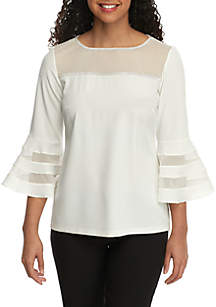 MSK Bell Sleeve Illusion Neck Top