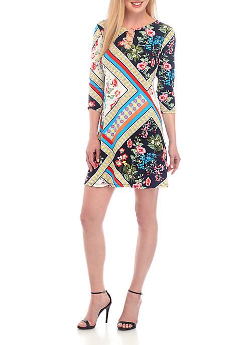 MSK 3/4 Sleeve 3 Ring Patchwork Print Dress
