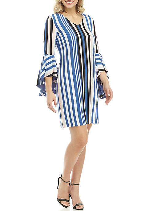 IVY ROAD 3/4 Exaggerated Sleeve V-Neck Stripe Dress
