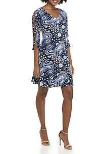 3/4 Ladder Sleeve Puff Print V-Neck Dress