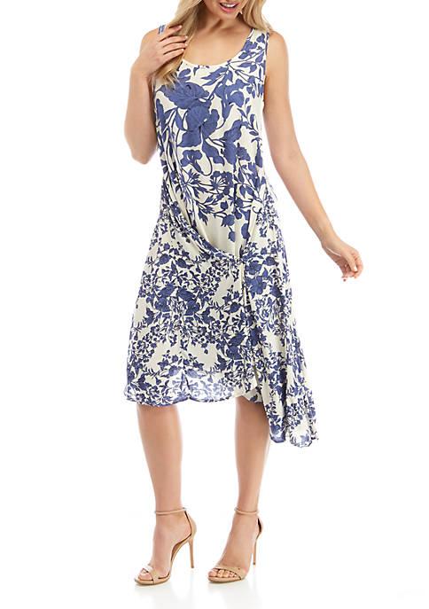 Womens Sleeveless Asymmetric Wrap Dress