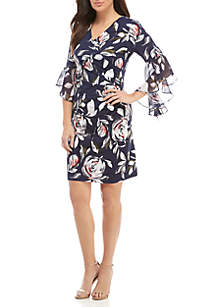 Long Bell Sleeve Floral Faux Wrap Dress