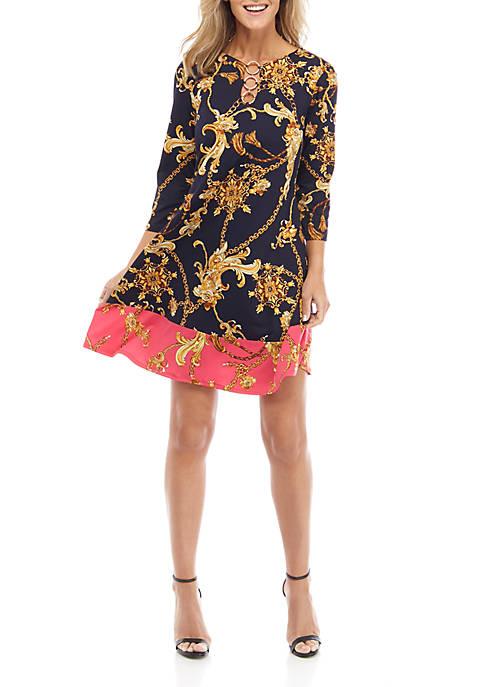IVY ROAD Womens 3 Ring Status Print Dress