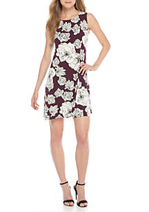 Sleeveless Tie Back Floral A-Line Dress