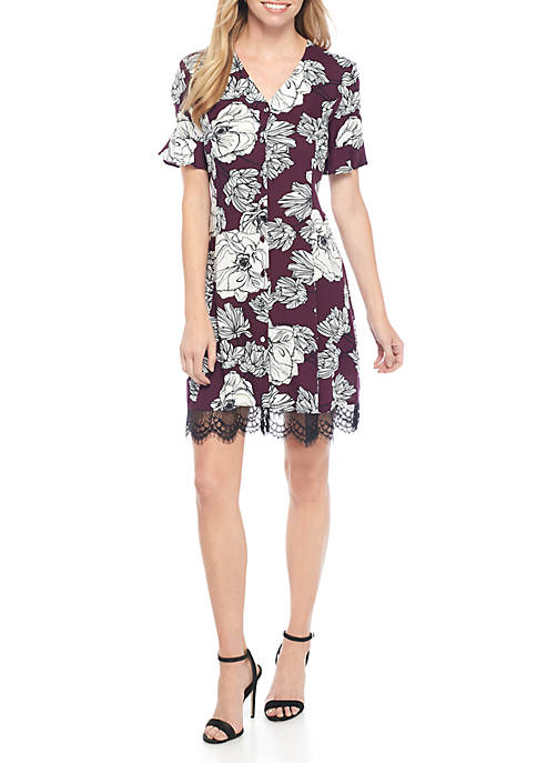 Short Sleeve Floral Print Challis Dress