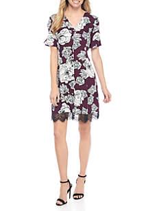 Short Sleeve Floral Print Challis Dress