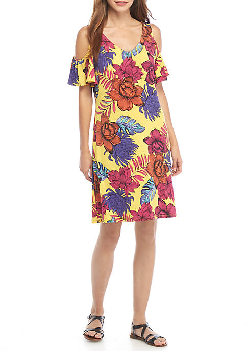 IVY ROAD Floral Print Cold Shoulder Dress