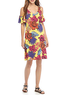 Floral Print Cold Shoulder Dress
