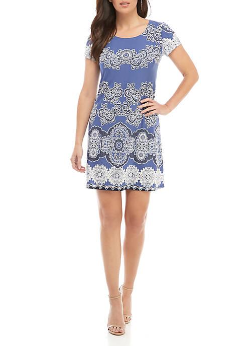 Short Sleeve Scoop Neck Puff Print Dress