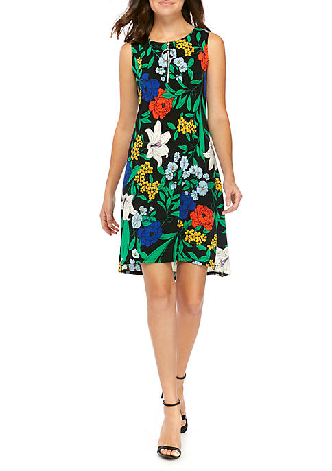 IVY ROAD Womens A Line Floral Zip Dress